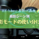 【撮影モードの使い分け】具体的な活用シーンと特徴を解説|一眼カメラの設定